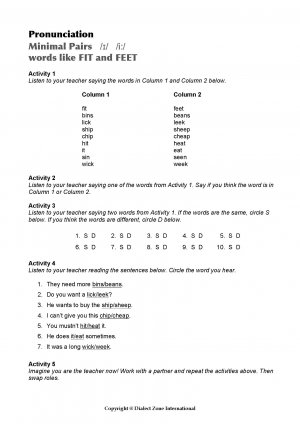 Minimal Pairs Worksheet Fit - Feet