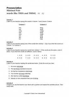 Minimal Pairs Worksheet Thin - Thing