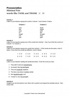 Minimal Pairs Worksheet Tank - Thank