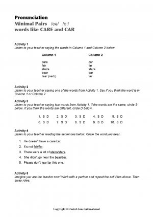 Minimal Pairs Worksheet Care - Car