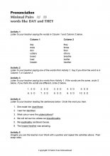 Minimal Pairs Worksheet Day - They