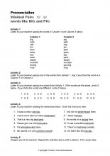 Minimal Pairs Worksheet Big - Pig