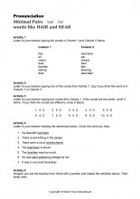 Minimal Pairs Worksheet Hair - Hear