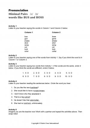 Minimal Pairs Worksheet Bus - Boss