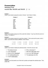 Minimal Pairs Worksheet Mash - Mass