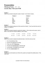 Minimal Pairs Worksheet Far - For