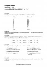 Minimal Pairs Worksheet Lick - Like