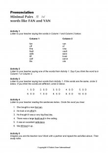 Minimal Pairs Worksheet Fan - Van