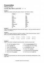 Minimal Pairs Worksheet Rice - Lice